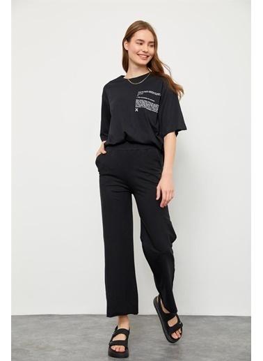 Setre Bej T-Shirt Eşofman Altı Takım Siyah